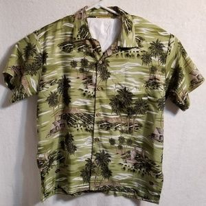 In Gear Button Down Plam Trees Boats Shirt Size M